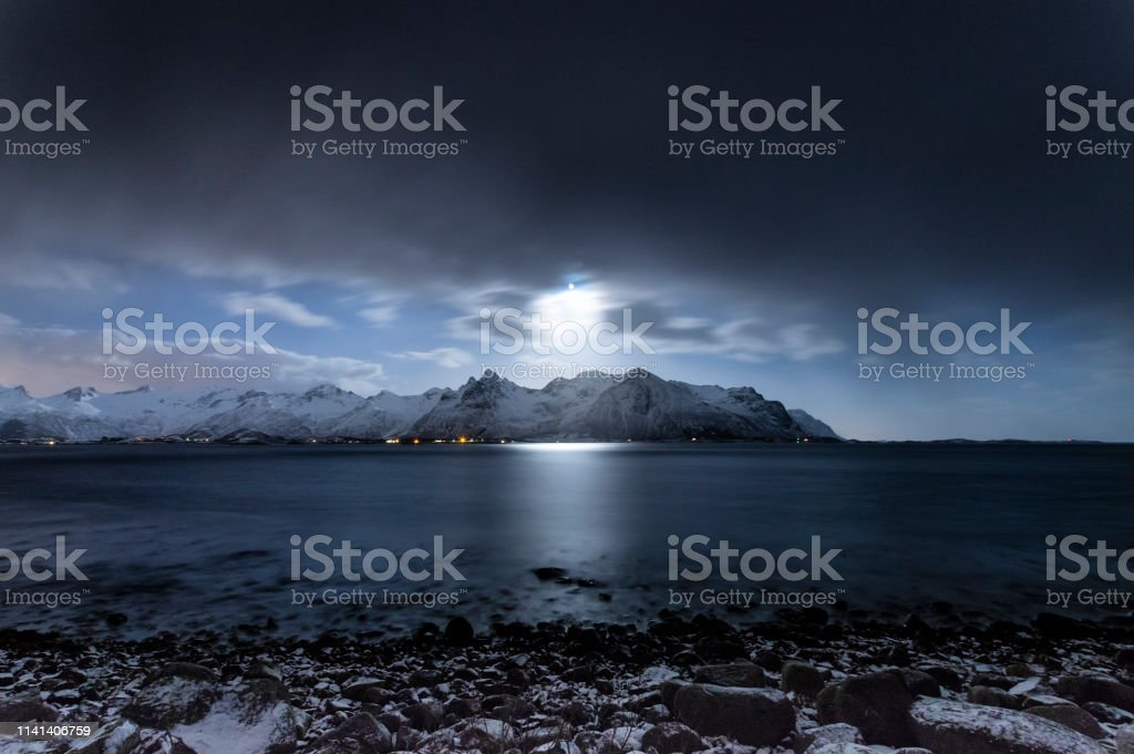 Moonlight Fjords stock photo