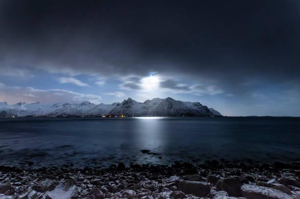 Moonlight Fjords stock photo