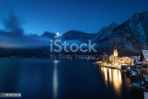 Tranquil winter morning in idyllic Austrian village Hallstatt.