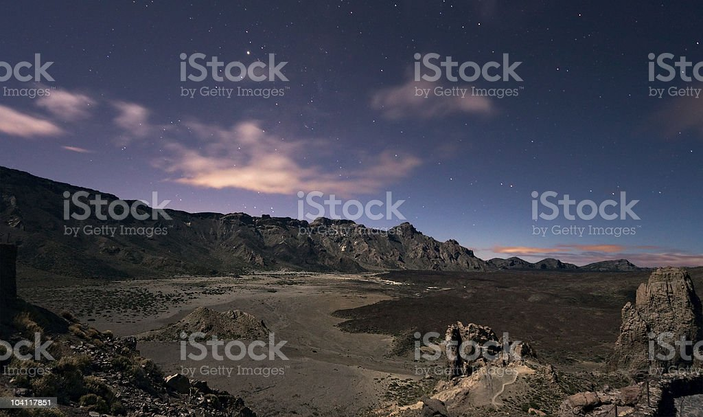 Moonlight landscape on Teide, Canary islands stock photo
