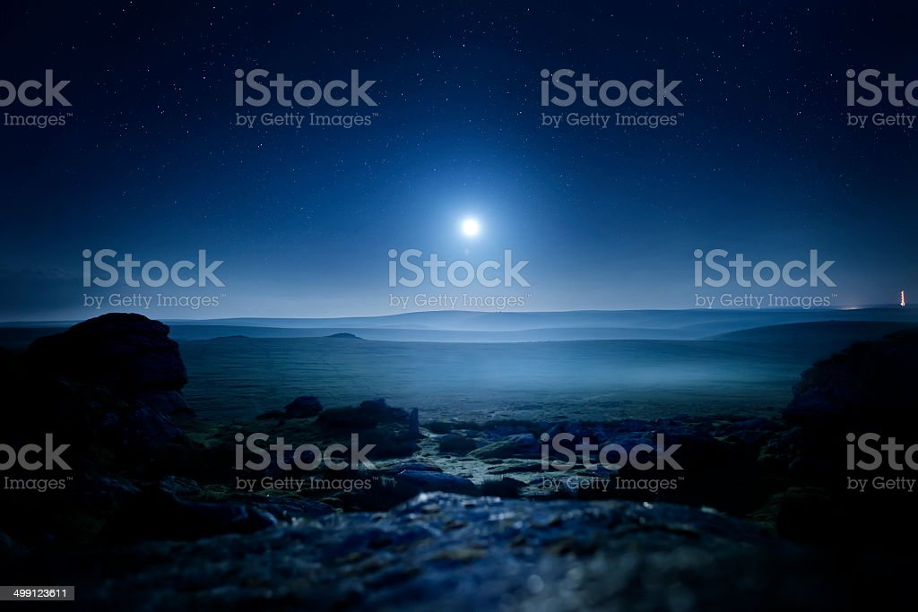 Moonlight Landscape stock photo