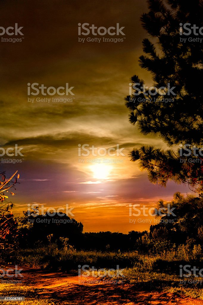 Moonlight landscape with dramatic sky stock photo