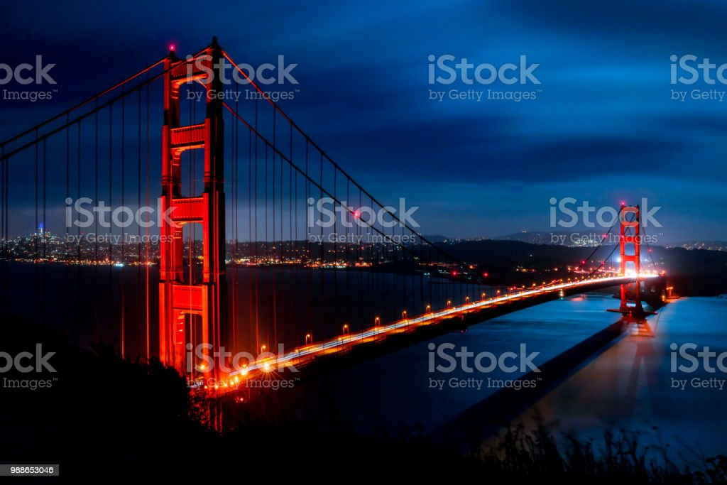 Moonlight on the Golden Gate Bridge stock photo