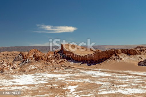 Atacama desert landscape in Chile : The Moon Valley area (Valle de la Luna) of geological formation of stone and sand located in the Salt mountain range, to the west of San Pedro de Atacama