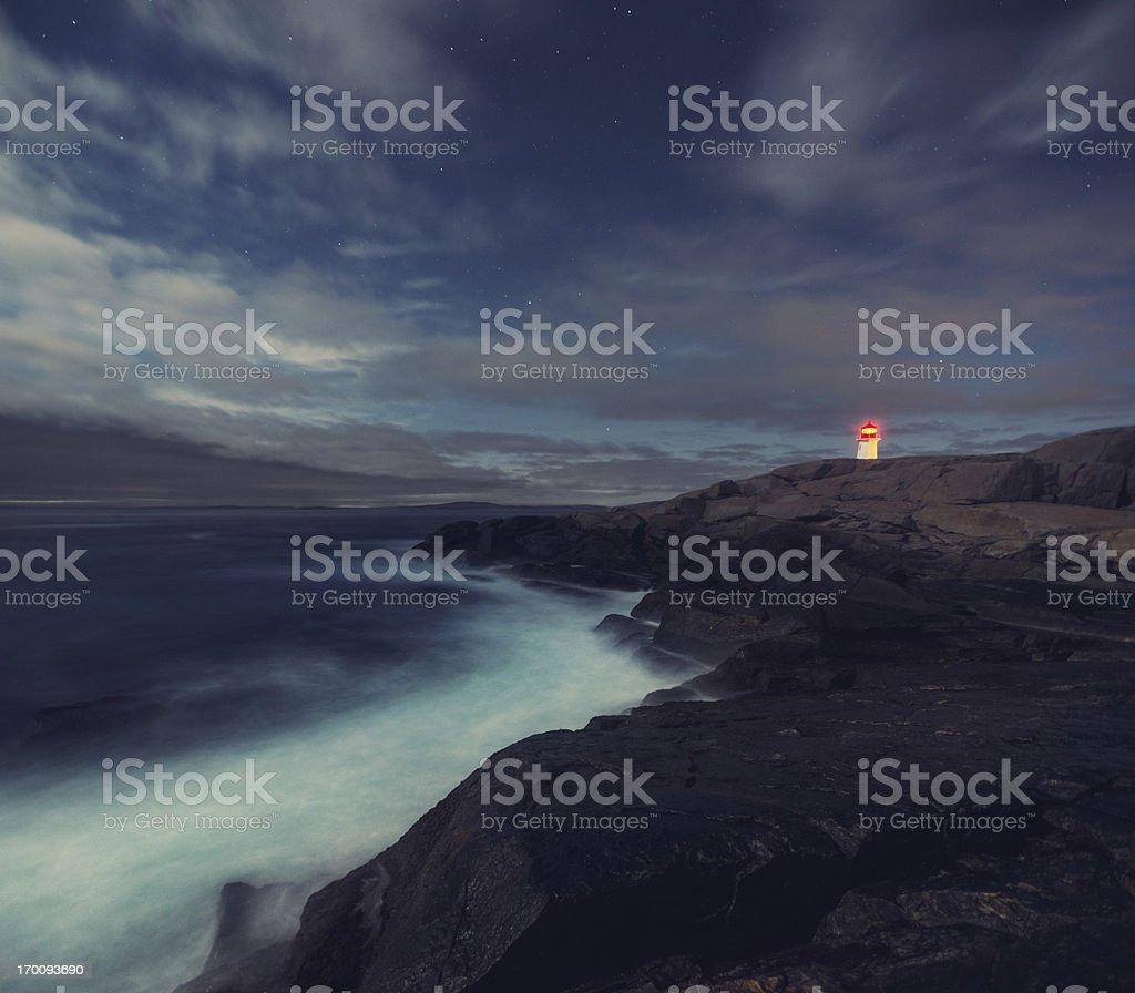 Moonlit Lighthouse royalty-free stock photo