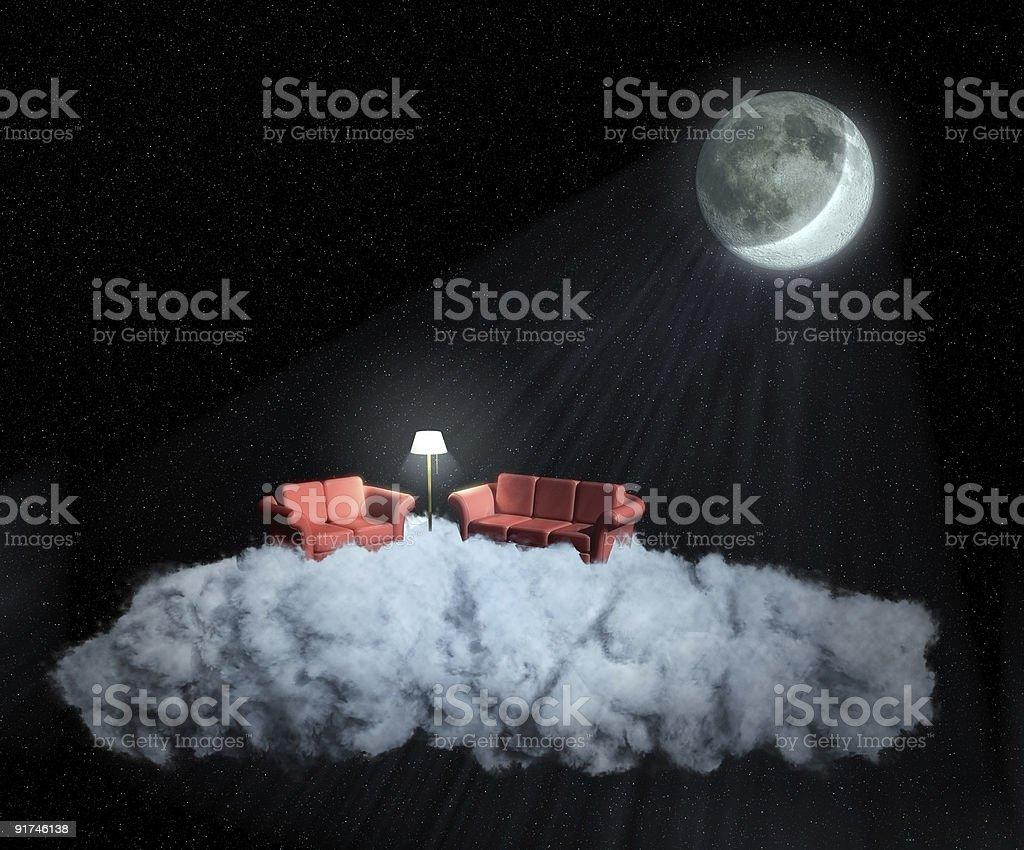 Bizarre Wohnzimmer auf einer Wolke am Abend – Foto
