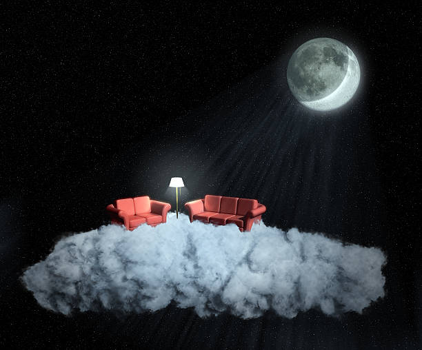 Moonlit living room on a cloud at night stock photo