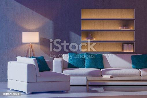 3D render image of interior design at night. Scandinavian style living room.