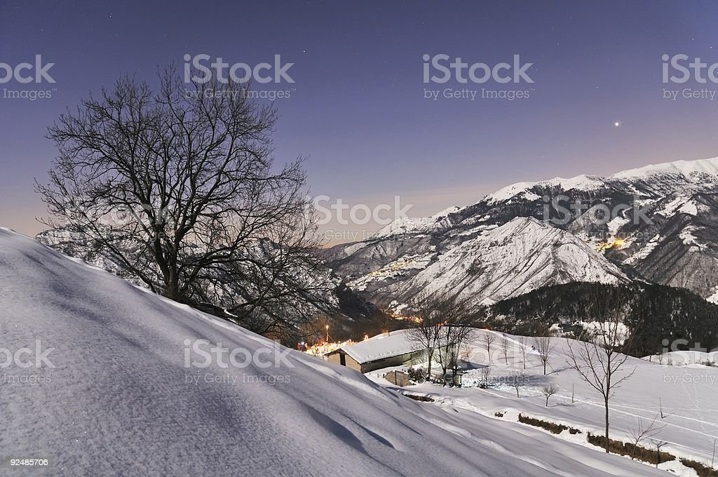 Moonlit mountain scene royalty-free stock photo