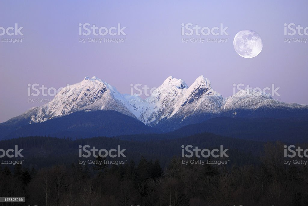 Moonlit Mountains stock photo