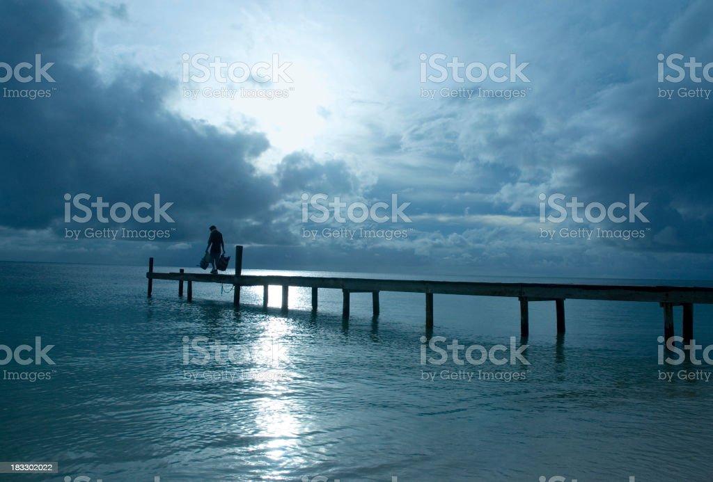 Moonlit pier royalty-free stock photo