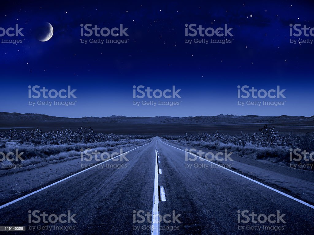 Moonlit Road stock photo