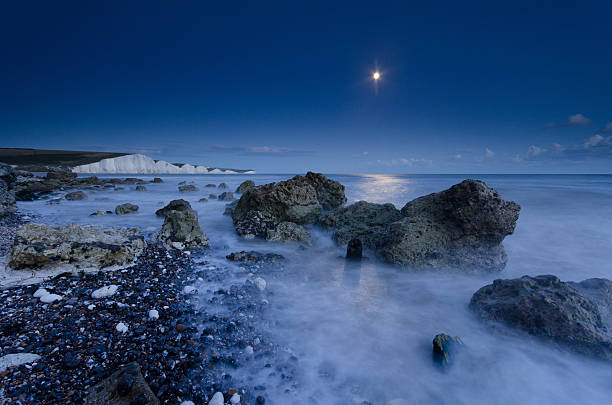 Moonlit Seven Sisters stock photo
