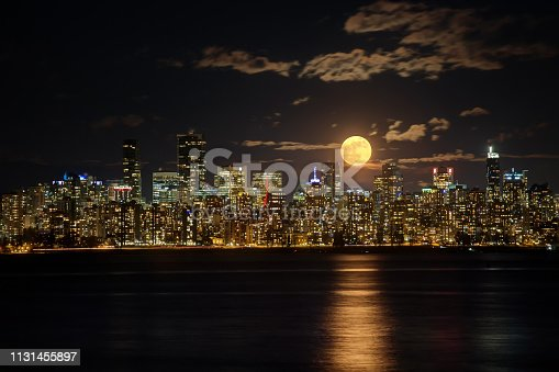 Moonrise above Downtown Vancouver