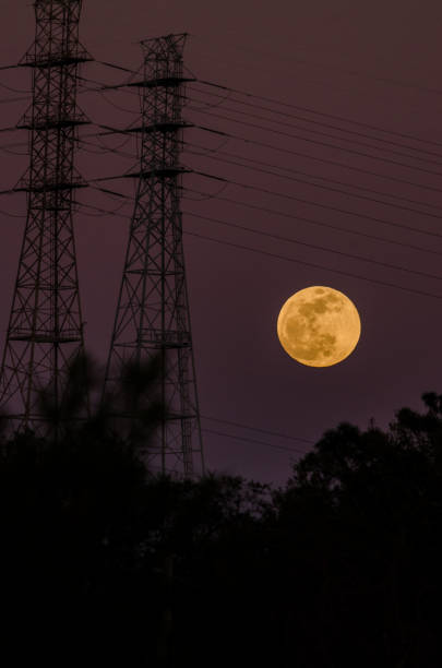 Moonrise and Power Lines stock photo
