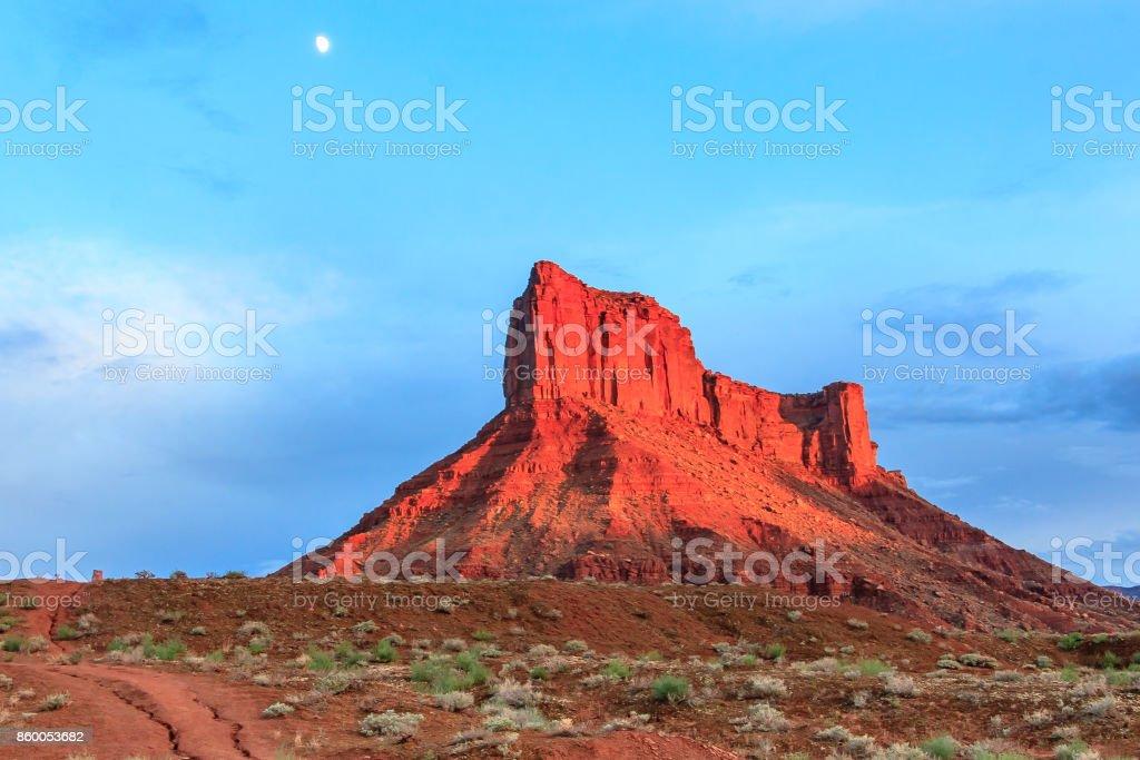Moonrise and Sunset stock photo