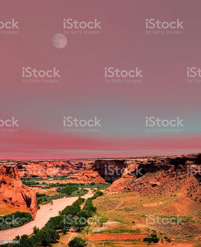Moonrise Canyon de Chelly stock photo