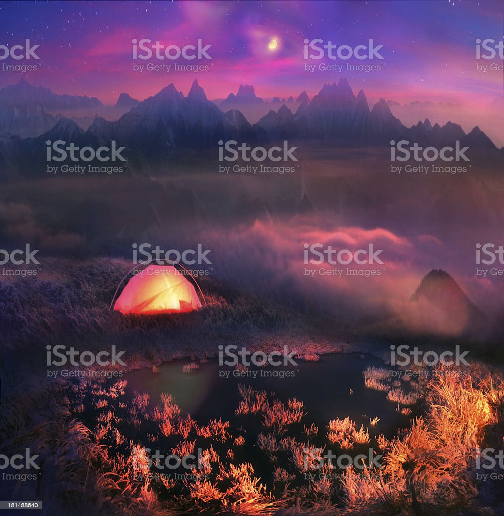 moonrise in  foothills of the Alps royalty-free stock photo