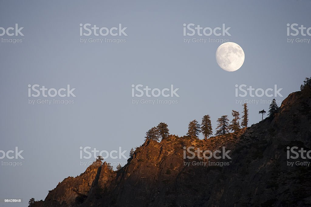 Moonrise in the mountain royalty-free stock photo