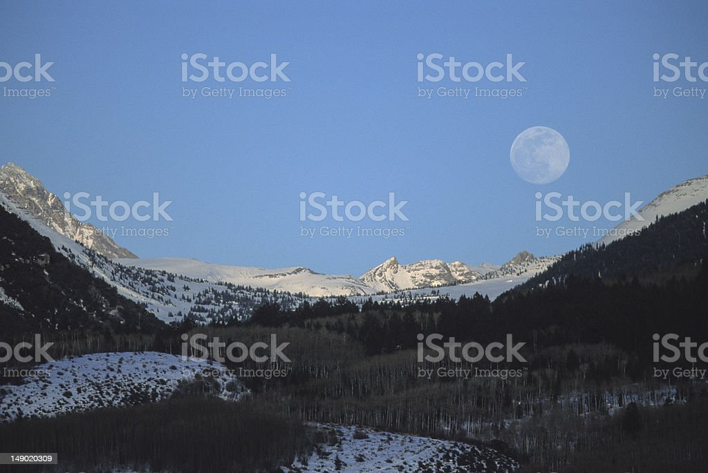 Moonrise On Darby Canyon stock photo