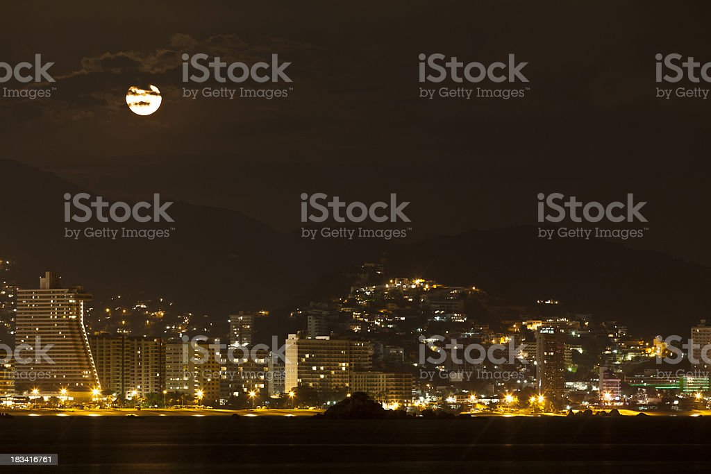 Moonrise Over Acapulco royalty-free stock photo