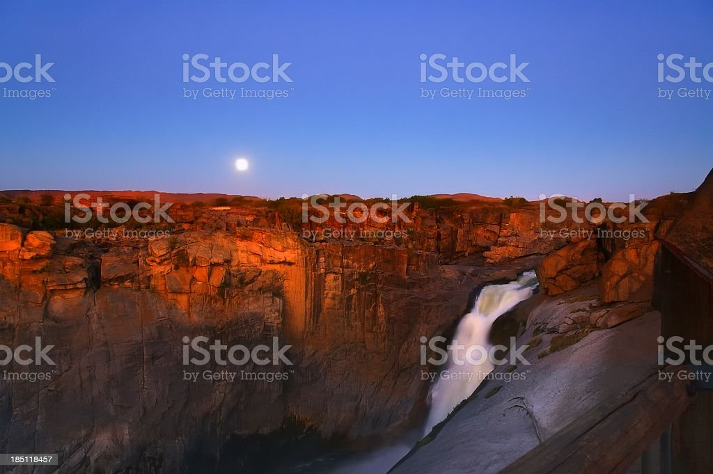 Moonrise Over Augrabies Falls stock photo