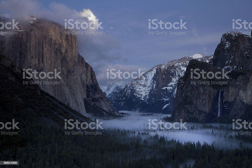 Moonrise over El Capitan royalty-free stock photo