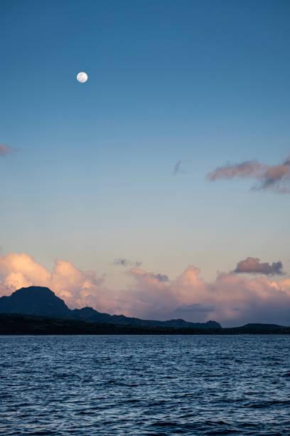 Moonrise over Kauai stock photo