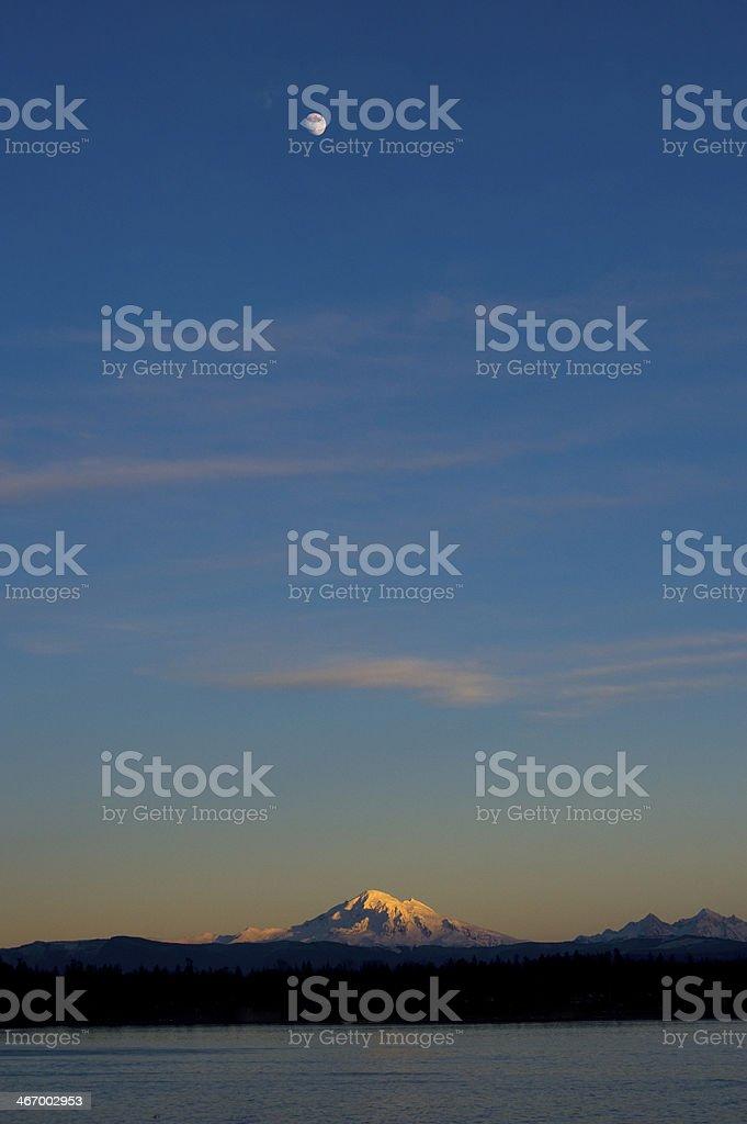 Moonrise over Mt. Baker. royalty-free stock photo