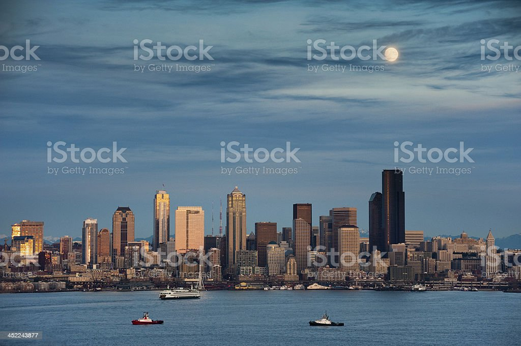 Moonrise Over Seattle, Washington. stock photo