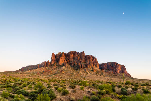 Moonrise over Superstition Mountain stock photo