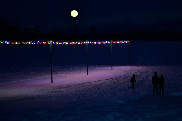 Moonrise skating stock photo