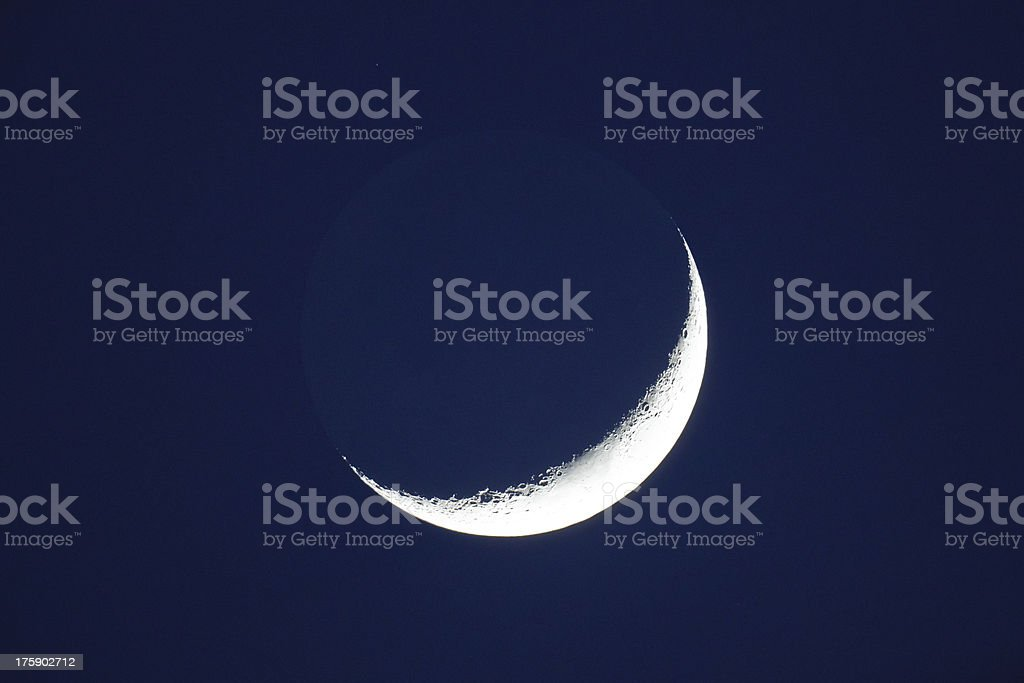 Gray light of crescent Moon. Dark part of Moon reflects light from...
