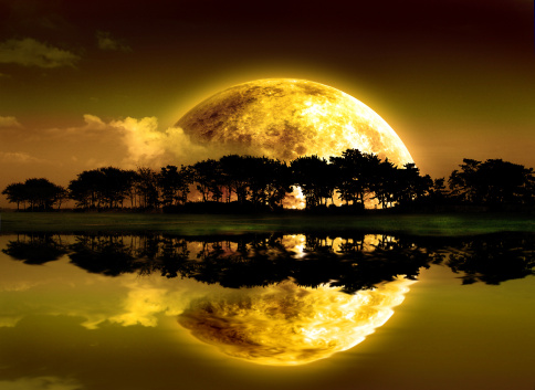 Moons Reflection Stock Photo - Download Image Now