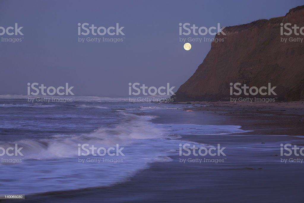 Moonset at Half Moon Bay stock photo