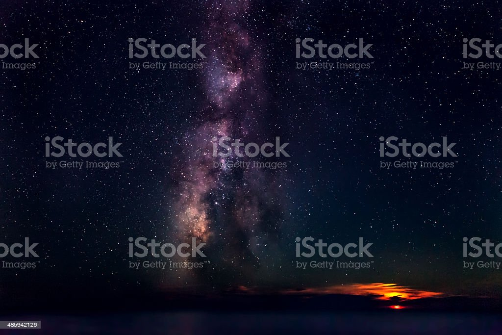 Moonset & Milky Way stock photo