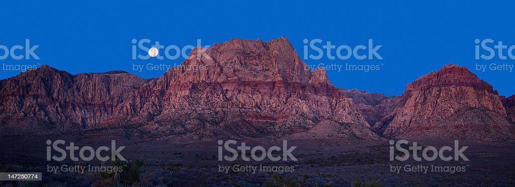 Moonset over Red Rock Canyon, NV royalty-free stock photo