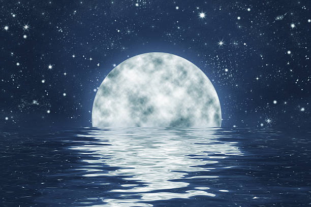 moonset over water with night sky and stars - romantic moon stock photos and pictures