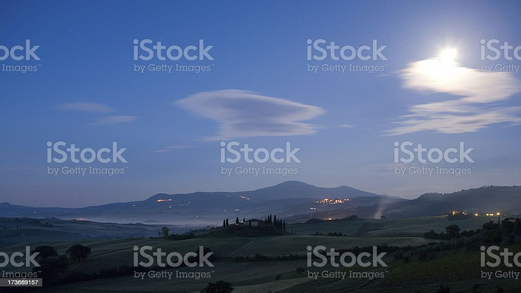 moonshine in a tuscan valley royalty-free stock photo