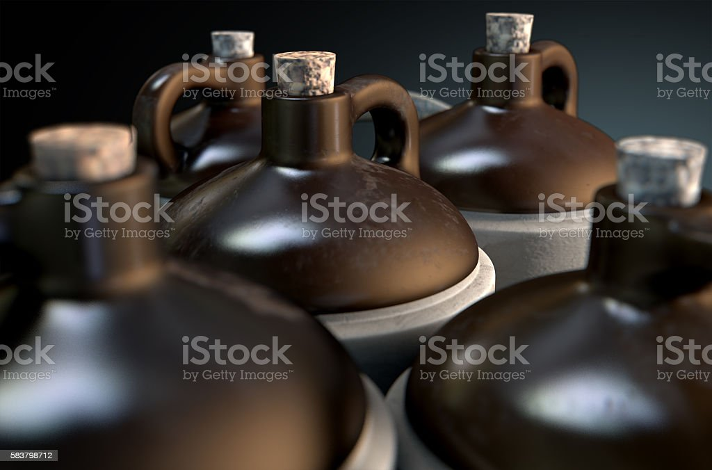 Moonshine In Wooden Crate stock photo