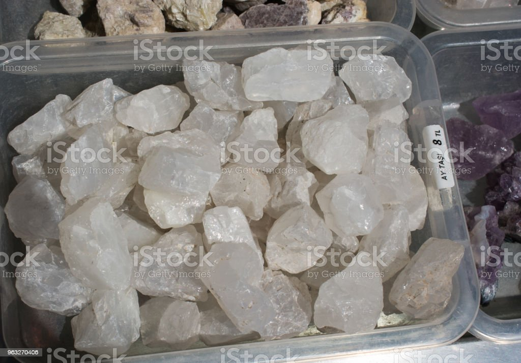 moonstone (adular) gem stone as natural mineral rock stock photo