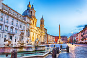 istock Moor Fountain and Sant'Agnese in Piazza Navona, Rome 1053011516