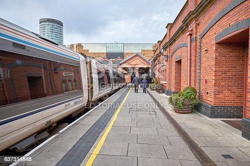 Birmingham - UK - December 11, 2016: Moor Station in Birmingham, UK, in the background the famous Bull Ring