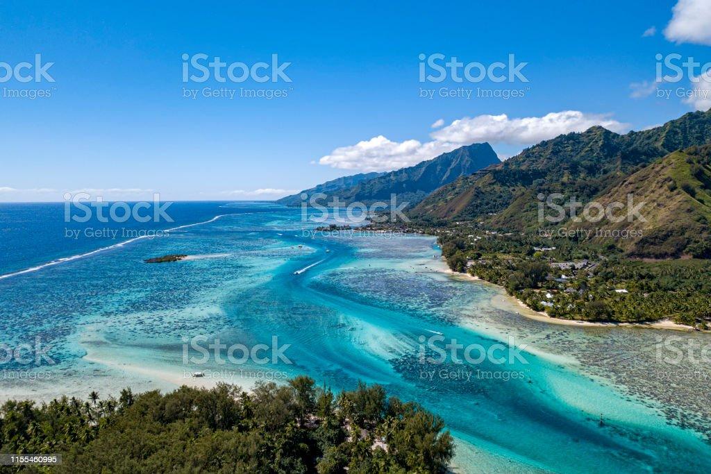 Moorea Island French Polynesia Lagoon Aerial View Stock