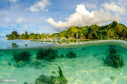 Beautiful split shot of Moorea island in Tahiti French Polynesia