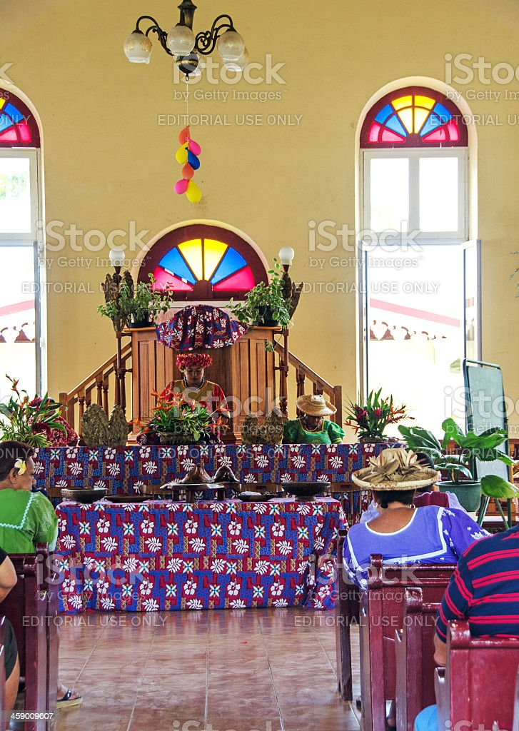 Moorea Temple Service royalty-free stock photo