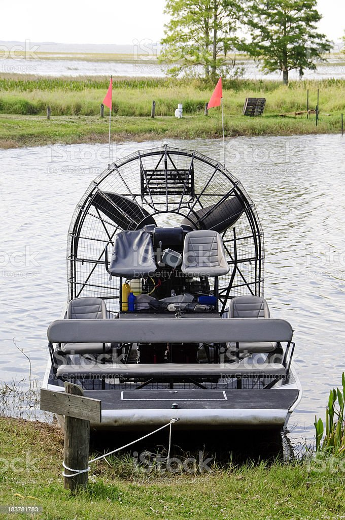 Moored Airboat stock photo