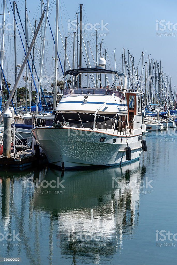 moored boat and its reflection royalty-free stock photo