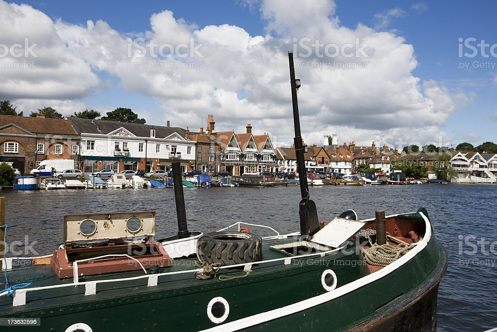 Moored Boat Henley on Thames stock photo