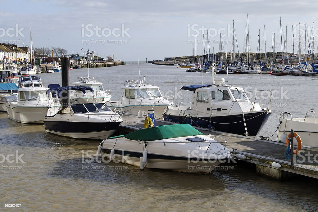 Moored boats at Littlehampton. West Sussex. England royalty-free stock photo